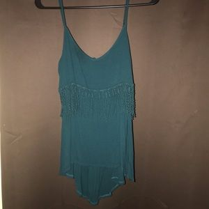 Teal higher lower tunic with open back